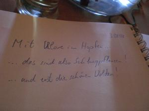 Gästebucheintrag im Hopfenmuseum