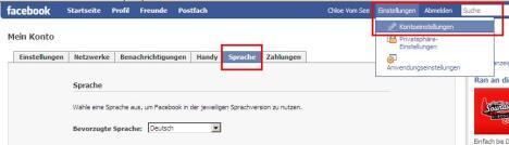 Sprache auf Facebook einstellen