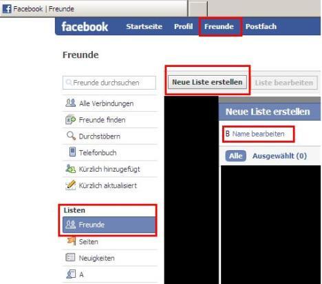 Freundeslisten auf Facebook anlegen